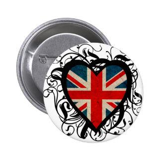 Decorative British Heart 6 Cm Round Badge
