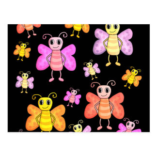 Decorative butterflies pattern postcard