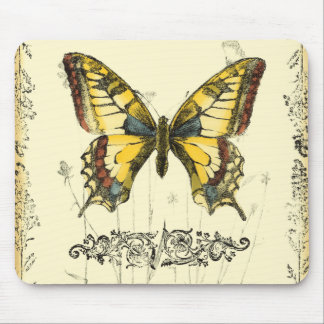 Decorative Butterfly with Wildflowers Mouse Pad