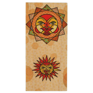 Decorative Celestial Suns Wood USB 3.0 Flash Drive