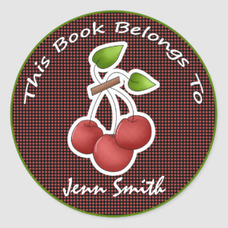 Decorative Cherry Fruit Cute Name Bookplate Label Round Sticker