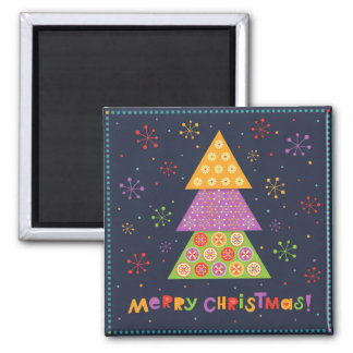 Decorative Christmas fir tree Square Magnet