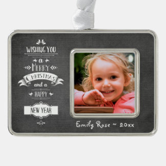 Decorative Christmas Greeting | Chalkboard | Photo Silver Plated Framed Ornament