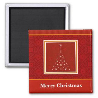 Decorative Christmas Tree Design Square Magnet