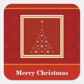 Decorative Christmas Tree Design Square Stickers