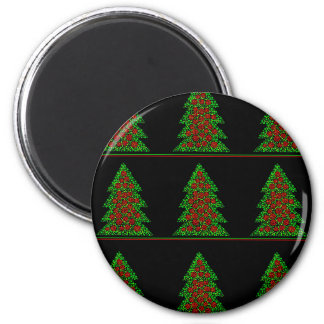 Decorative Christmas tree pattern 6 Cm Round Magnet