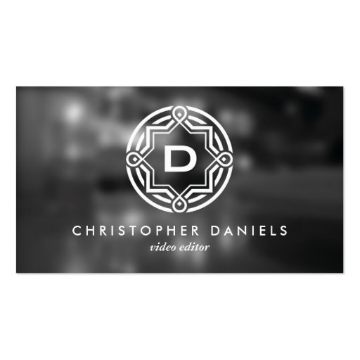 DECORATIVE CIRCLE LOGO with YOUR INITIAL Photo Business Card Template