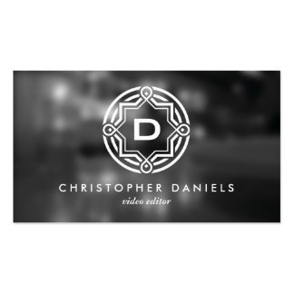 DECORATIVE CIRCLE LOGO with YOUR INITIAL Photo Pack Of Standard Business Cards