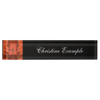 Decorative clef with roses an metal background nameplates