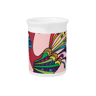 Decorative colored rooster pitcher