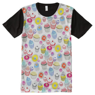 Decorative Colorful Fun Cupcakes Pattern All-Over Print T-Shirt