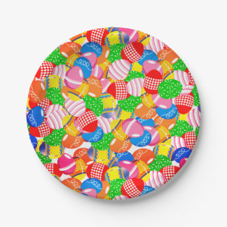 Decorative Colorful Springtime Easter Eggs Party Paper Plate