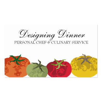 Decorative colorful tomatoes chef catering business card template