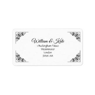 Decorative corners Wedding return address labels