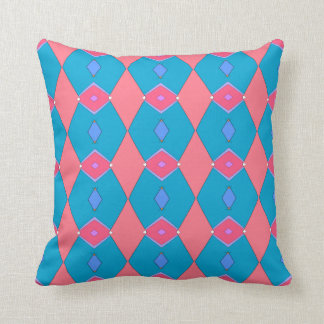 Decorative cushion, blue céruléen and pink, cushion