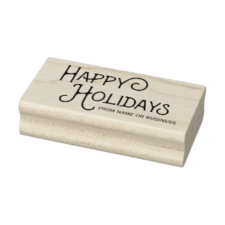 Decorative Custom Happy Holidays Rubber Art Stamp