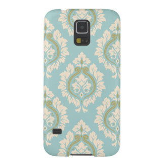 Decorative Damask Pattern – Cream & Gold on Blue Cases For Galaxy S5