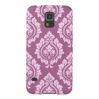 Decorative Damask Pattern – Pink on Plum Galaxy S5 Covers
