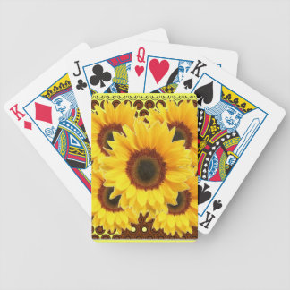 DECORATIVE DECO BROWN & YELLOW SUNFLOWER BICYCLE PLAYING CARDS