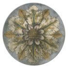 Decorative Demask Rosette on Grey Background Plate