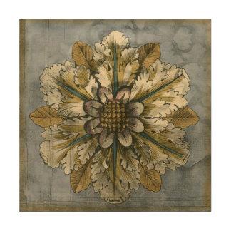 Decorative Demask Rosette on Grey Background Wood Print
