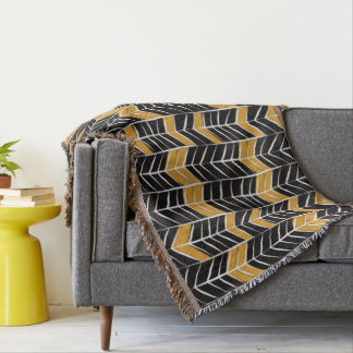 Decorative Drawn Golden Tribal Boho. Throw Blanket