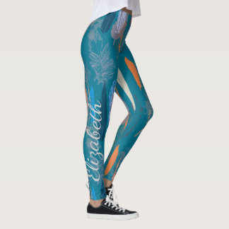 Decorative Feather Design in Blue Personalized Leggings