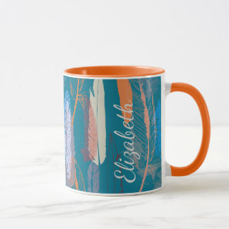 Decorative Feather Design Personalized Mug
