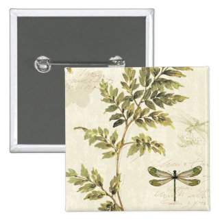 Decorative Ferns and a Dragonfly 15 Cm Square Badge
