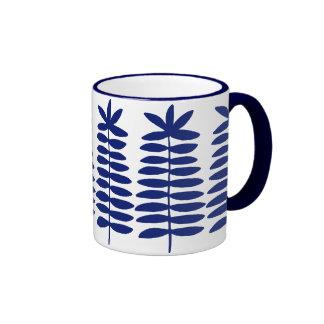 Decorative Ferns - Navy Blue Ringer Mug