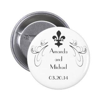 Decorative Fleur de Lis Wedding Button