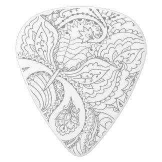 Decorative Floral Butterfly - multiple colors avai White Delrin Guitar Pick