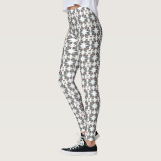 Decorative Floral Butterfly Pattern on White Leggings