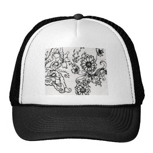 Decorative floral design mesh hats