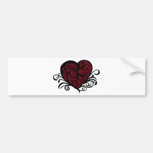 Decorative Floral Heart Design Bumper Sticker