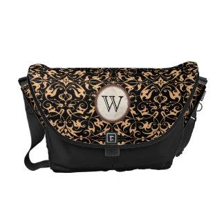 Decorative Floral Motif with Monogram Messenger Bag