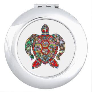 Decorative floral ornamental sea turtle line art compact mirror