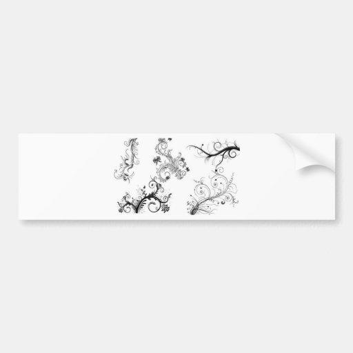 Decorative floral ornaments bumper sticker