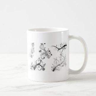 Decorative floral ornaments mugs