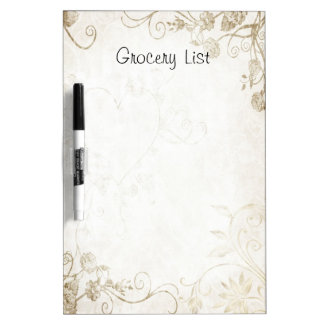 Decorative Floral Scrolls Grocery List Dry Erase Board