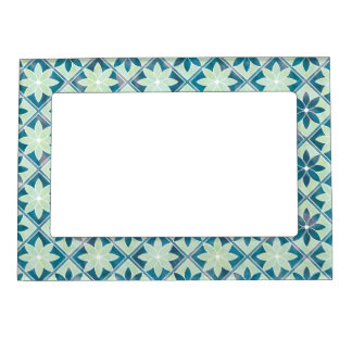 Decorative Floral Tiles Magnetic Frame -Aquamarine