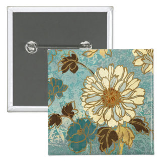 Decorative Florals in Blue and White 15 Cm Square Badge