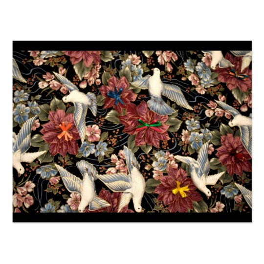 Decorative Flowers And Doves Postcard