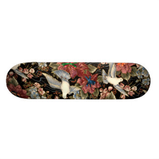 Decorative Flowers And Doves Skate Boards