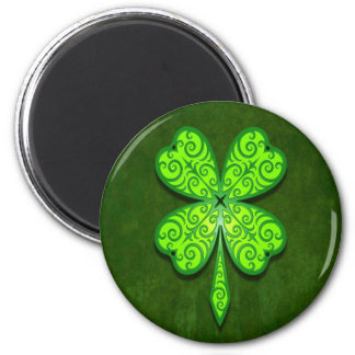 Decorative Four Leaf Clover 6 Cm Round Magnet
