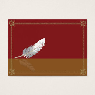 Decorative frame with a feather business card