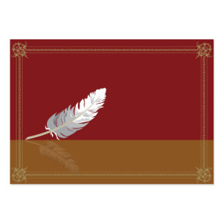 Decorative frame with a feather pack of chubby business cards