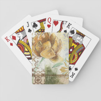 Decorative Fresco Design with Globe Flower Playing Cards