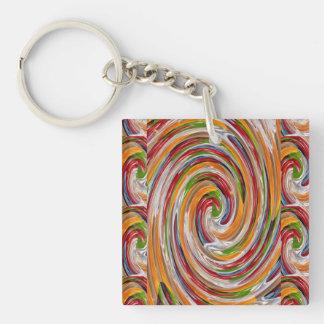 Decorative Fruity Twirl Wave Pattern Key Ring