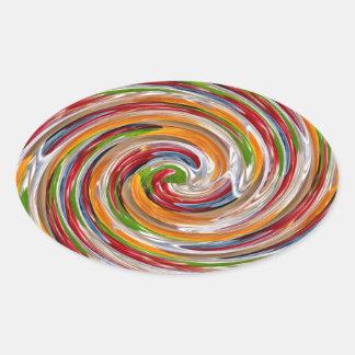 Decorative Fruity Twirl Wave Pattern Oval Sticker